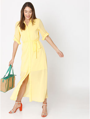 Yellow Long Shirt Dress