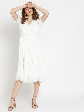 White Frill Detail Pleated Midi Dress