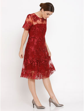 Red Lace Fit & Flare Dress