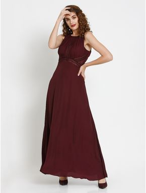 Burgundy Cut Work Detail Maxi Dress