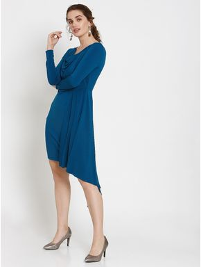 Blue Asymmetric Ruffle Hem Fit & Flare Dress