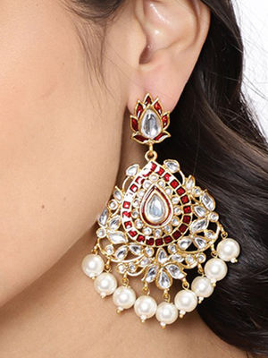 Gold Tone & Red Floral Contemporary Earring For Women