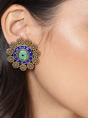 Gold-Toned & Blue Floral Studs