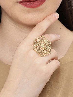 Ethnic Indian Traditional Gold Hexa Ring for women
