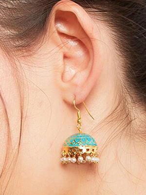 Fida Ethnic Indian Traditional Green Meenakari Jhumka Earrings For Women