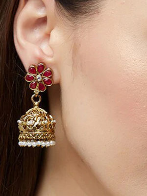 Ethinic Indian Traditional Gold Red stone Embellished Tasseled Jhumka Earrings For Women