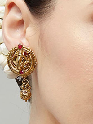 Ethnic Indian Traditional Gold Ganesh Temple Drop Earrings For Women