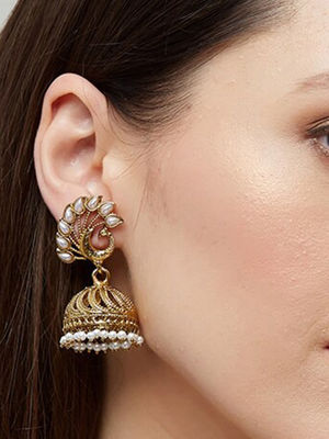 Ethnic Indian Traditional Elegant Peacock Pearl Embellished Drop Earrings For Women