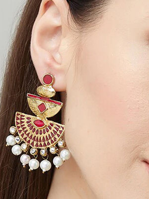 Ethnic Indian Traditional Gold,Pink Drop Earrings For Women