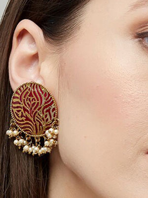Ethnic Indian Traditional Gold,Pink Pearl Embellished Stud Earrings For Women.