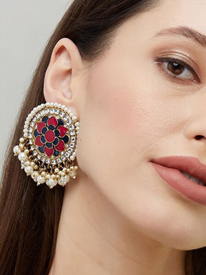 Ethnic Traditional Gold Pink and Navy Floral Meenakari Pearl Embellished Stud Earring For Women