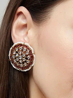 Band Baaja Ethnic Traditional Gold Red Enamel and Kundan Embellished Stud Earrings For Women