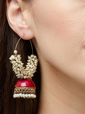 Band Baaja Ethnic Indian Traditional Gold Meenakari Pearl embellished Hoop Jhumka For Women