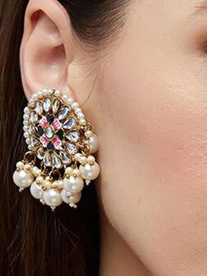 beautiful Wedding Ethinic Indian Traditional Claasic Pearl Embellished Drop Earrings For Women