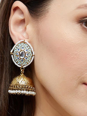 Ethnic Indian Traditional Elegant Pearl Embellished Baby Blue  Jhumka Earrings For Women