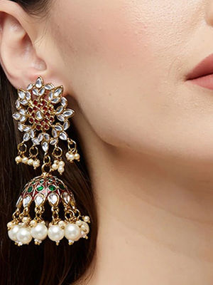 Ethnic Traditional Gold Kundan Stone Red and Green Embellished Enamel  Jhumka Earring For Women