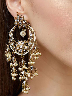 Elegant Wedding Ethnic Indian Traditional Gold Cluster Pearl Embellished Drop Earring For Women