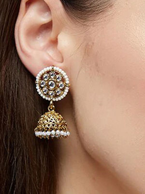 Ethnic Indian Traditional Beautifu Gold Kundan Embellished Jhumka Earrings For Women