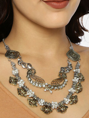 Ethnic Indian Traditional Two Tone Drum Necklace for women