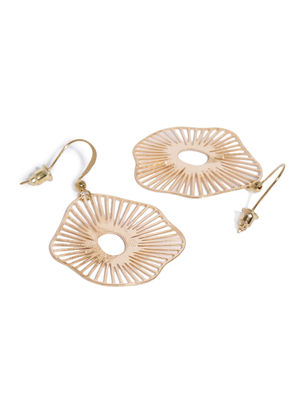 Gold-Toned Quirky-Shaped Drop Earrings