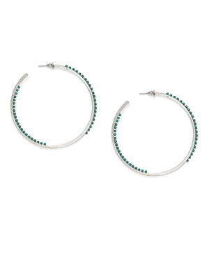 Silver-Toned & Green Circular Hoop Earrings