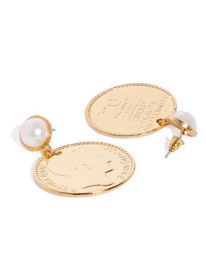 Gold-Toned Circular Coin Drop Earrings