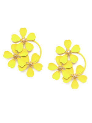 Yellow Floral Drop Earrings