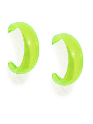 Green Crescent Shaped Half Hoop Earrings