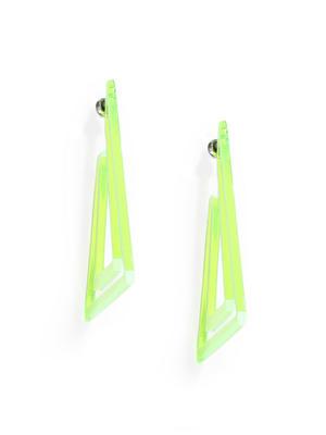Fluorescent Green Triangular Drop Earrings