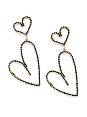 Black & Gold-Toned Heart Shaped Drop Earrings