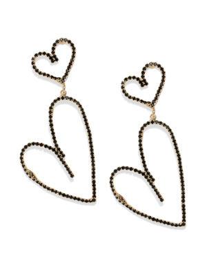 Black & Gold-Toned Heart Shaped Drop Earrings