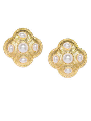 Gold-Toned & White Contemporary Over-sized Studs