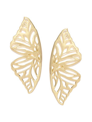 Gold-Toned Paisley Shaped Drop Earrings
