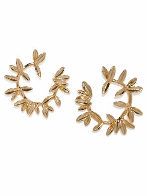 Gold-Toned Leaf Shaped Half Hoop Earrings