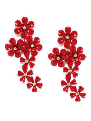 Red Floral Drop Earrings
