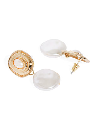 Gold-Toned & White Geometric Drop Earrings