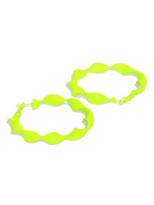 Fluorescent Green Circular Hoop Earrings