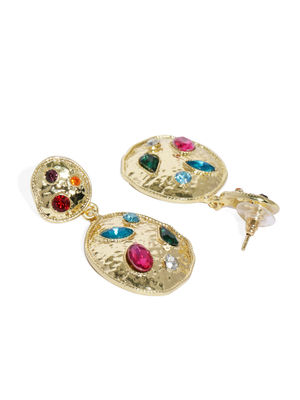 Gold-Toned Circular Stone-Studded Drop Earrings