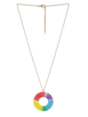 Women Multicoloured Embellished Rainbow Pendant With Chain