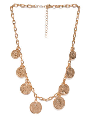 Women Gold-Toned Alloy Coin Necklace