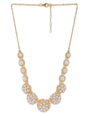 Women Gold-Toned & Pink Floral Necklace