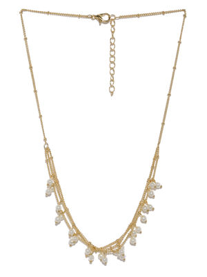 Women Gold-Toned & White Embellished Layered Necklace