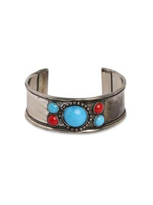 Toniq Silver Bead Embellished Cuff Bracelet