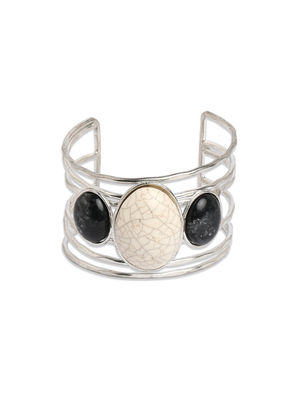 Toniq Silver & Black Cuff Bracelet For Women