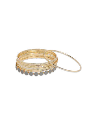 Toniq Set Of 8 Gold stone Embellished Bangles For Women