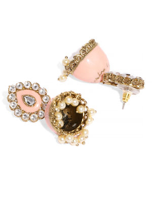 Women Gold-Toned & Pink Dome Shaped Jhumkas