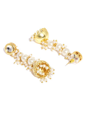 Women Gold-Toned & White Dome Shaped Drop Earrings