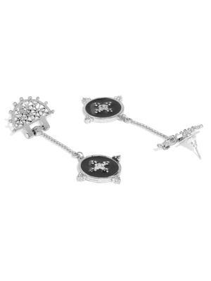 Women Silver-Toned & Black Circular Drop Earrings