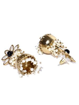 Gold-Toned Off-White Beaded Jhumka Earrings