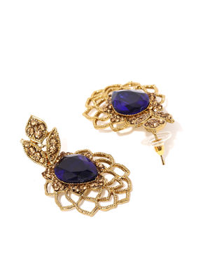 Antique Gold-Toned Blue Embellished Drop Earrings